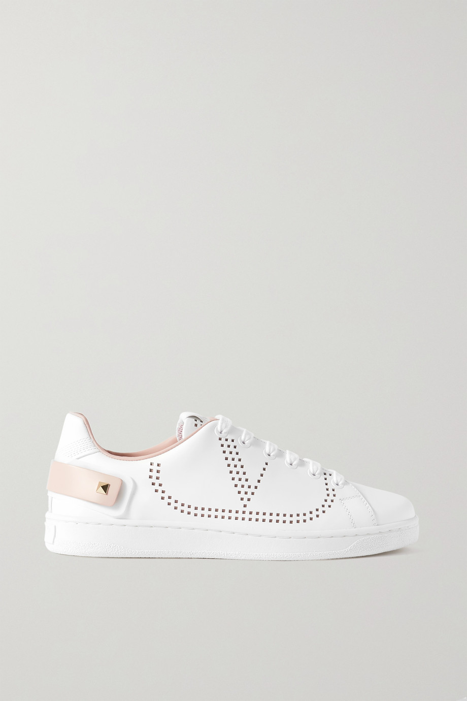 VALENTINO Valentino Garavani Backnet logo-perforated leather sneakers