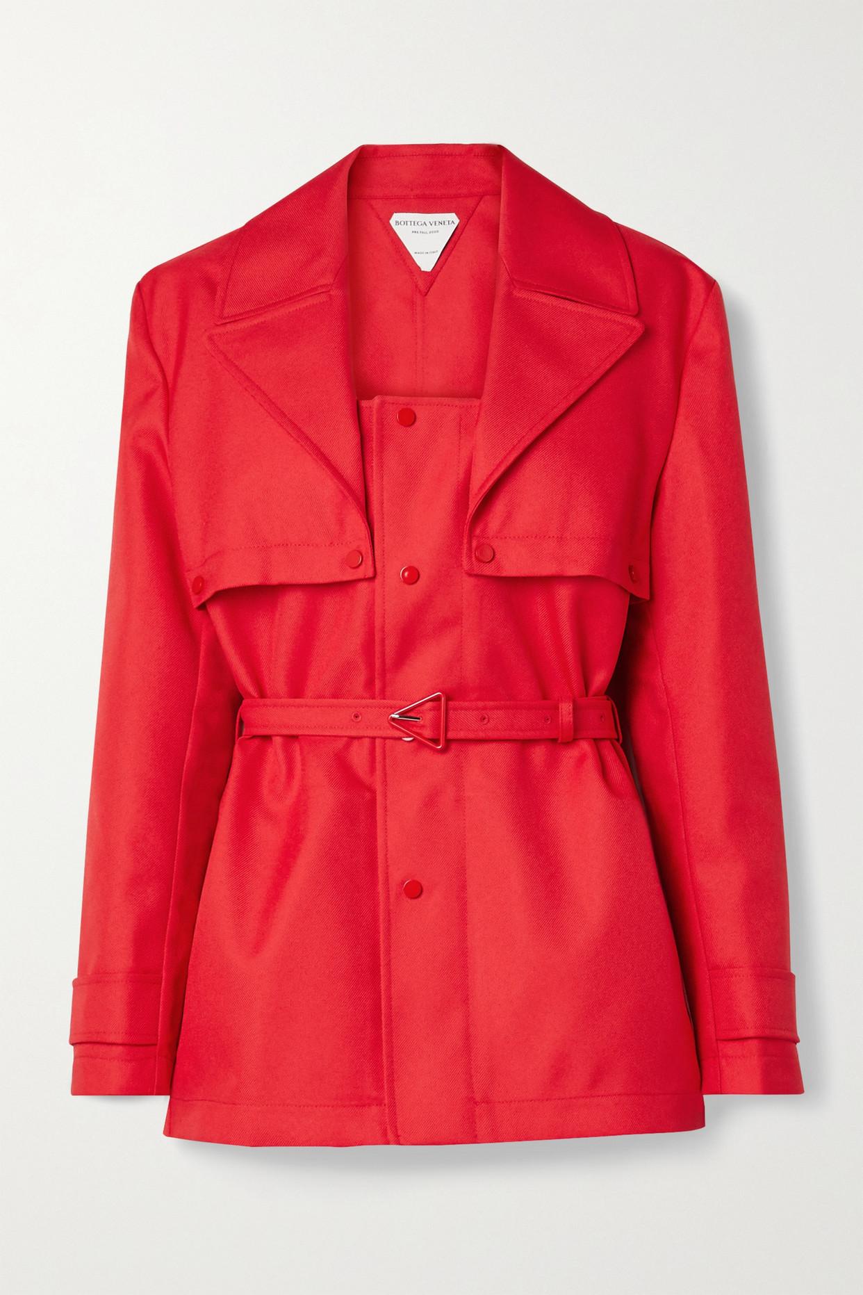 BOTTEGA VENETA - 配腰带斜纹布外套 - 红色 - IT38