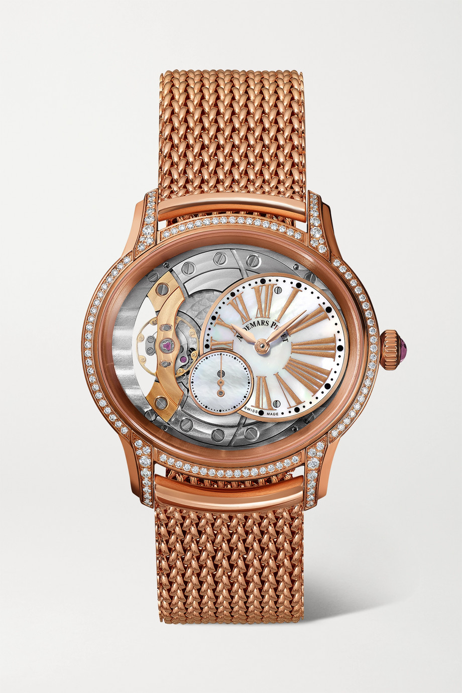 AUDEMARS PIGUET Millenary 39.5mm 18-karat pink gold, diamond and mother-of-pearl watch