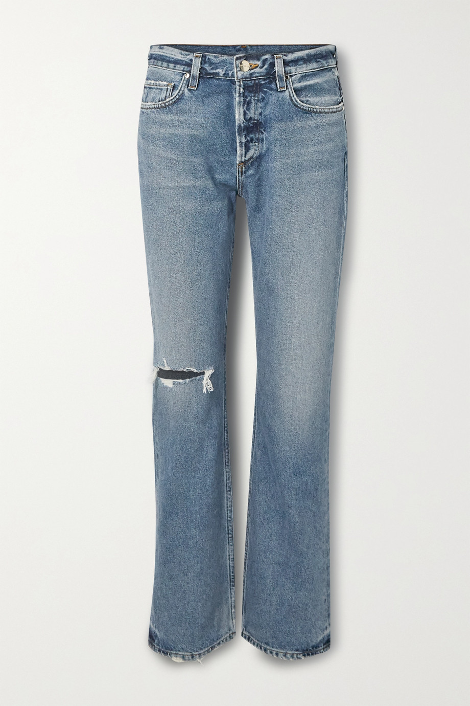 GOLDSIGN Nineties Boot distressed high-rise straight-leg jeans