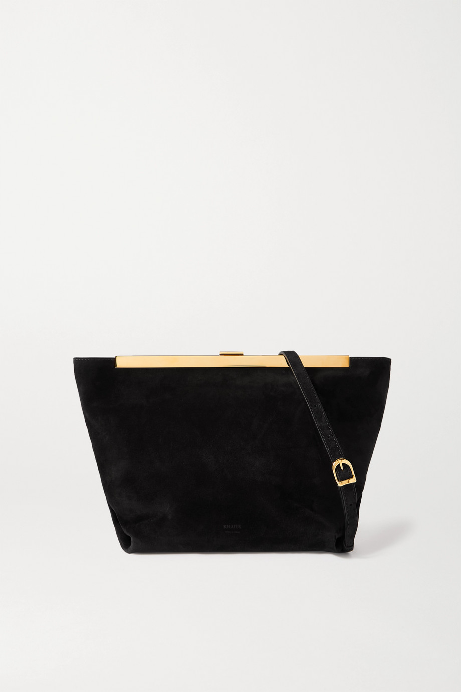 KHAITE Augusta Envelope Pleat suede shoulder bag