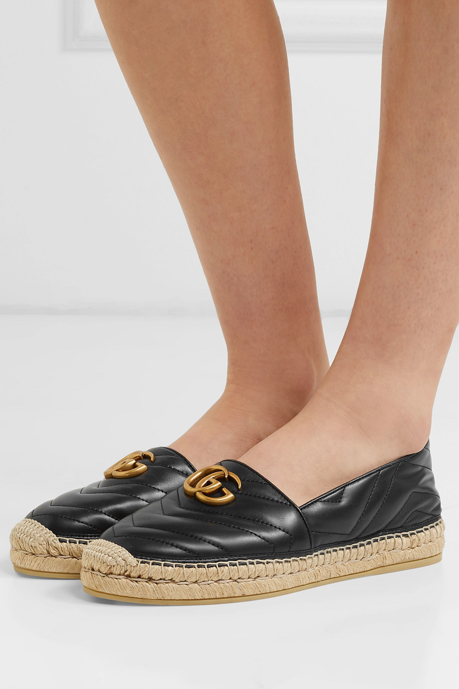 GUCCI Logo-embellished quilted leather espadrilles