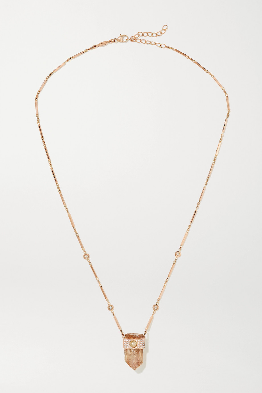 JACQUIE AICHE 14-karat rose gold, topaz and diamond necklace