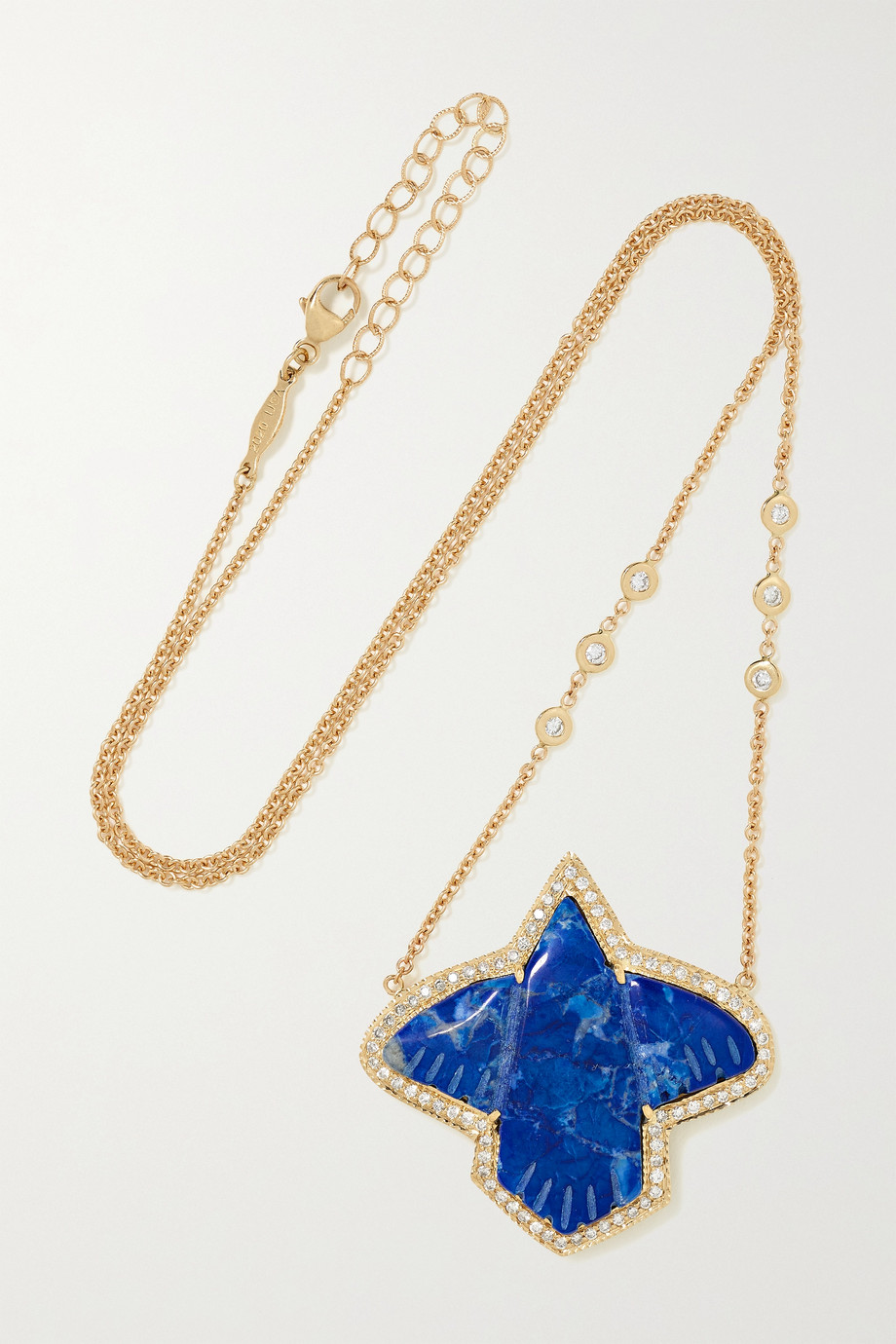 JACQUIE AICHE Thunderbird 18-karat gold, lapis lazuli and diamond necklace