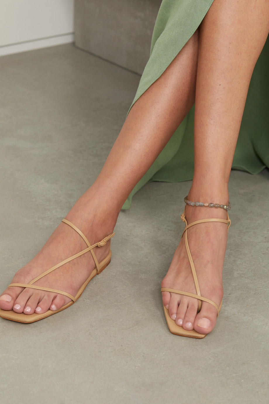 JACQUIE AICHE 14-karat rose gold, labradorite and diamond anklet