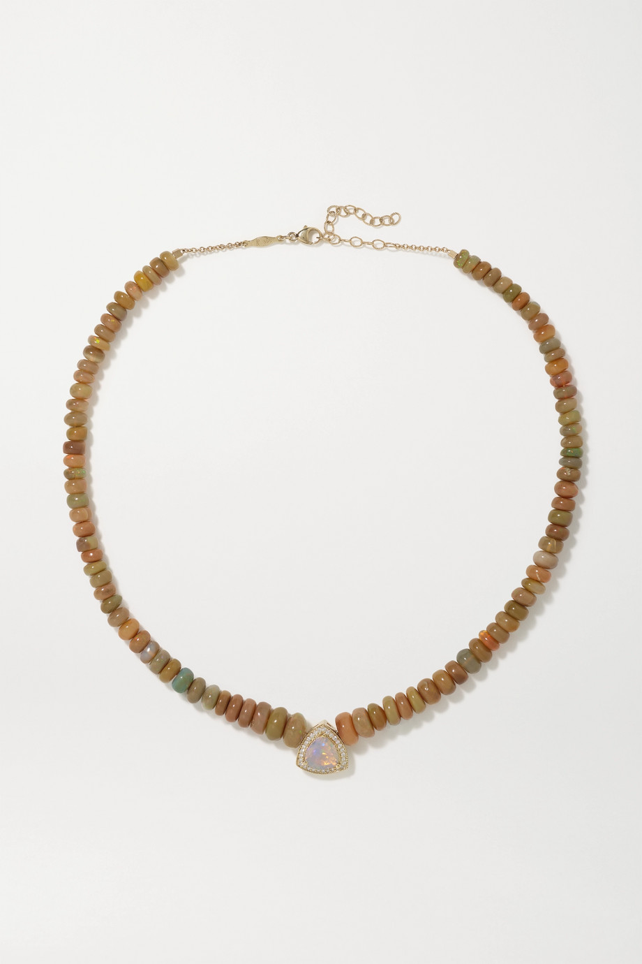 JACQUIE AICHE 14-karat gold, opal and diamond necklace