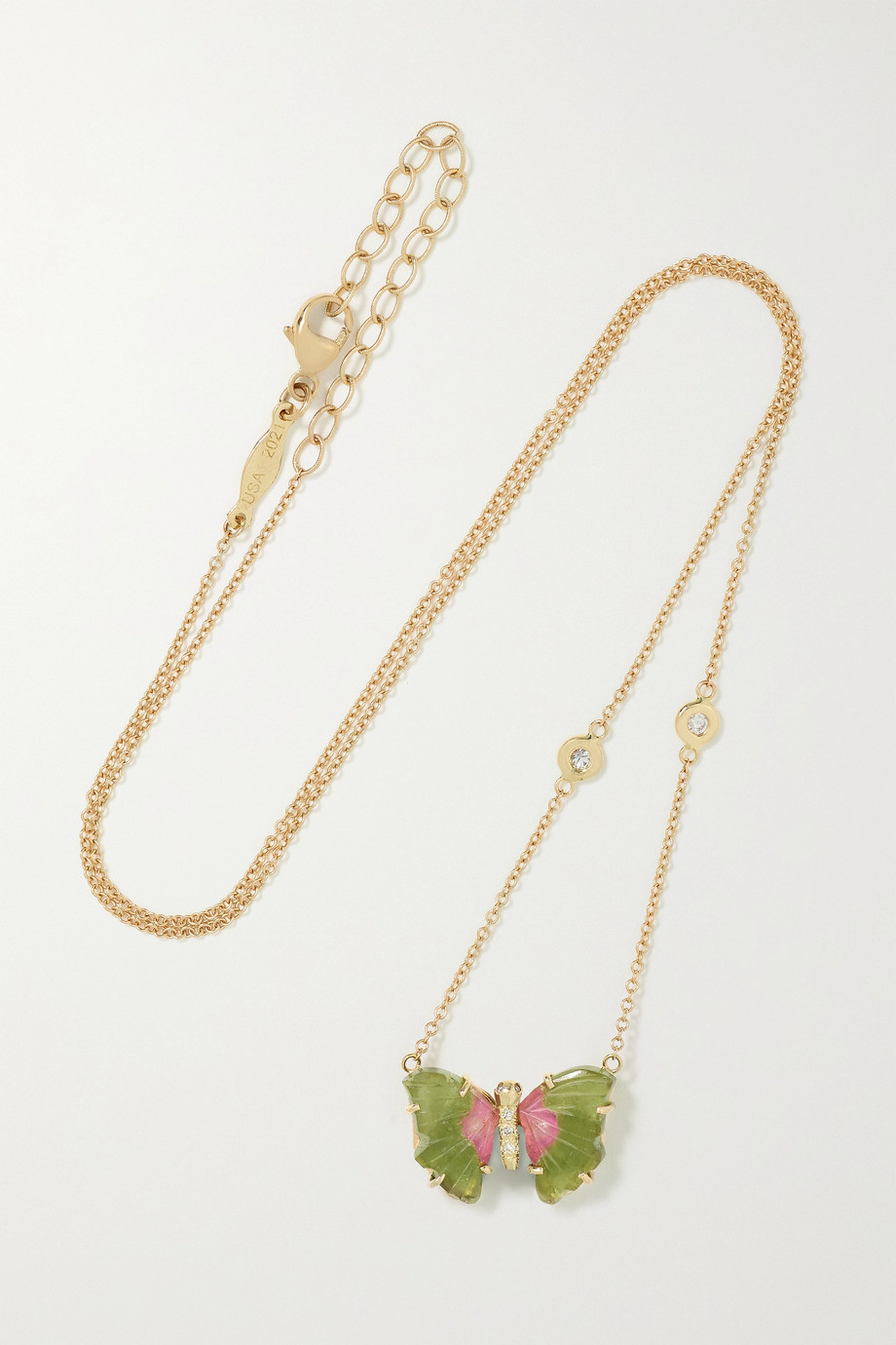 JACQUIE AICHE 14-karat gold, tourmaline and diamond necklace