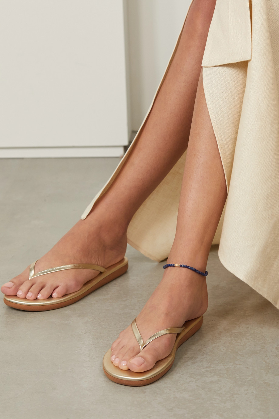 JACQUIE AICHE 14-karat gold, lapis and diamond anklet