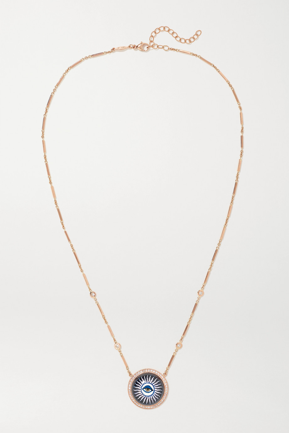 JACQUIE AICHE 14-karat rose gold, onyx and diamond necklace