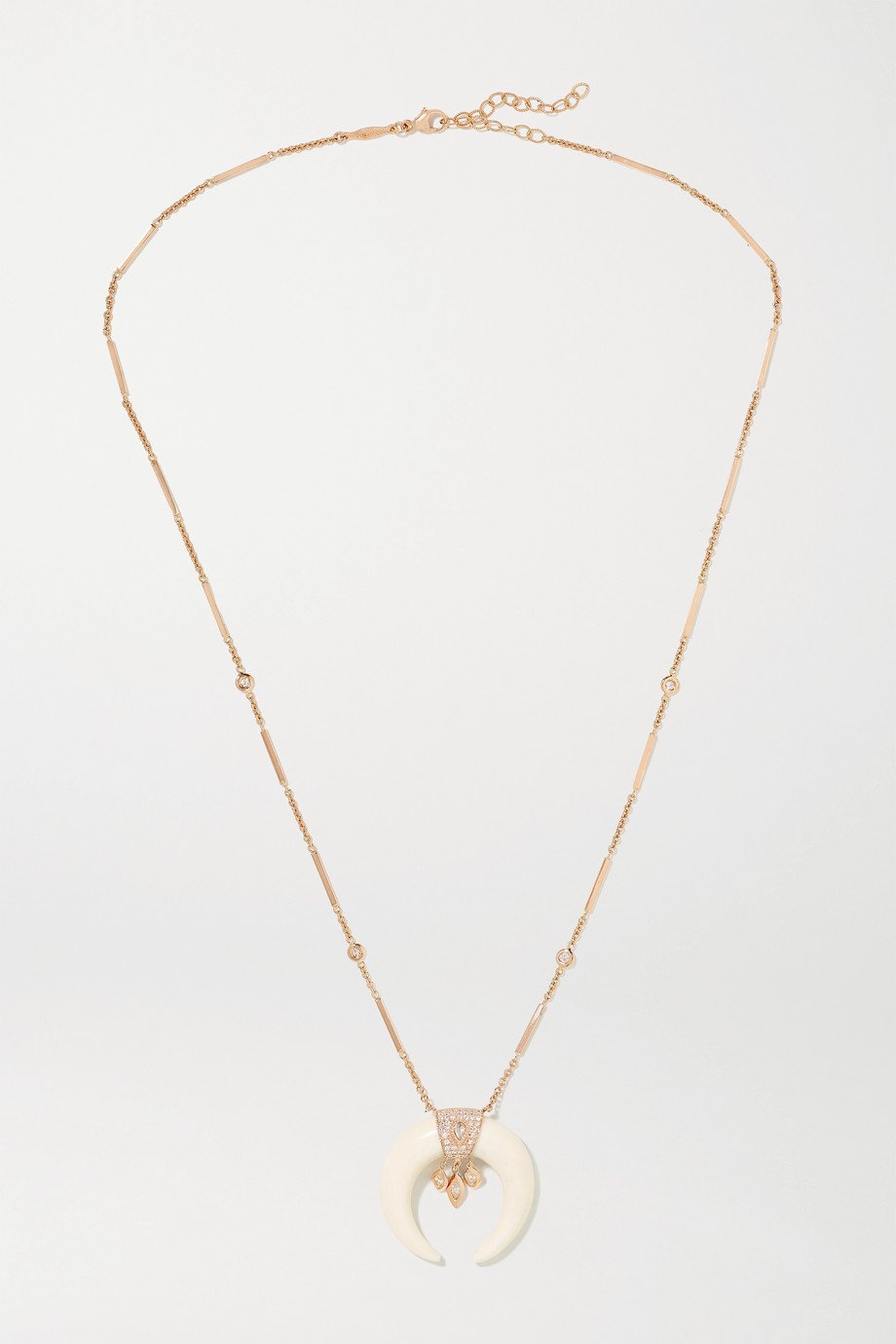 JACQUIE AICHE Double Horn 14-karat rose gold, bone and diamond necklace