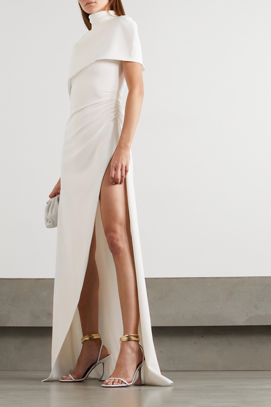 BRANDON MAXWELL Cape-effect crepe gown