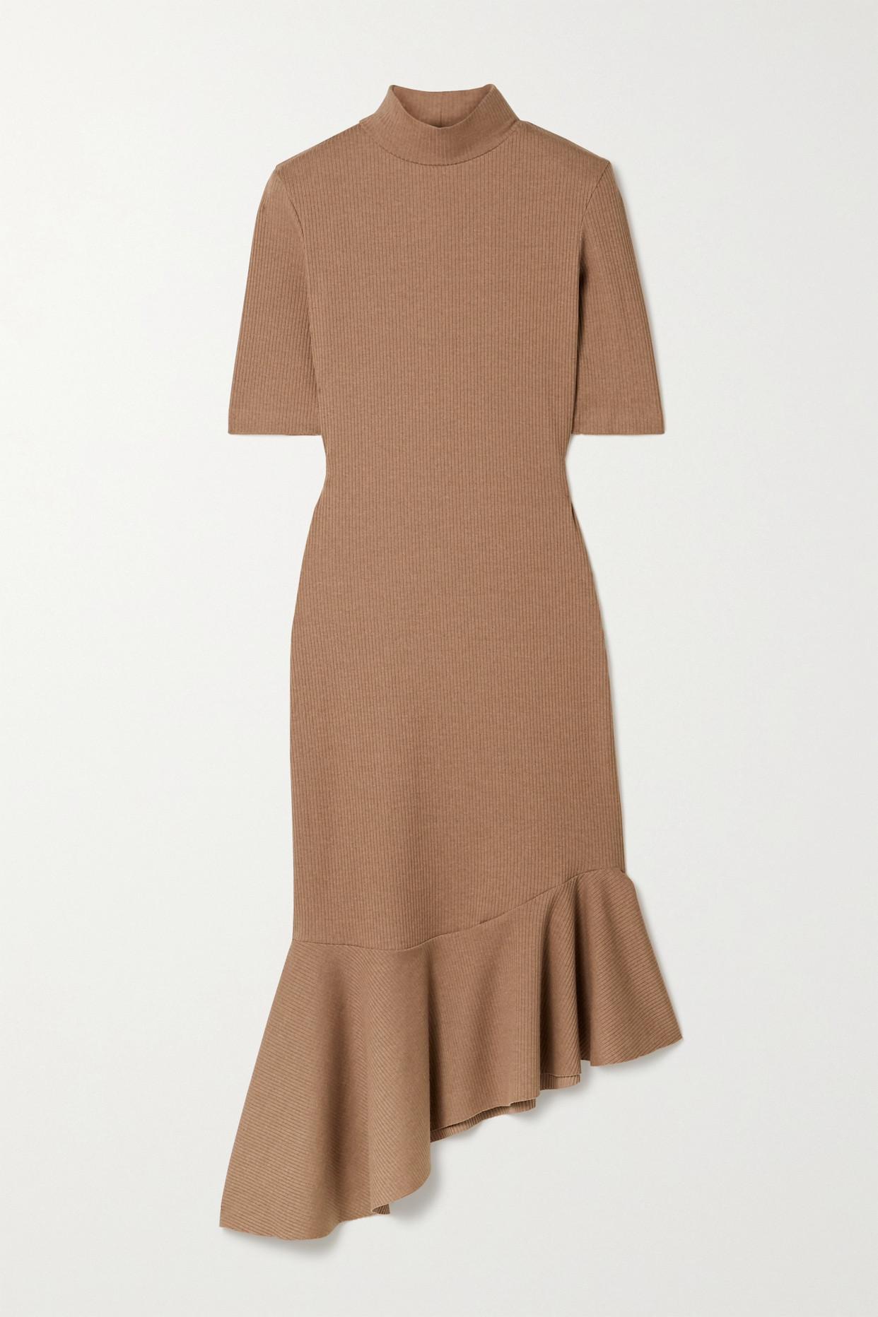 AAIZÉL - + Net Sustain Asymmetric Ruffled Ribbed-knit Midi Dress - Brown - large