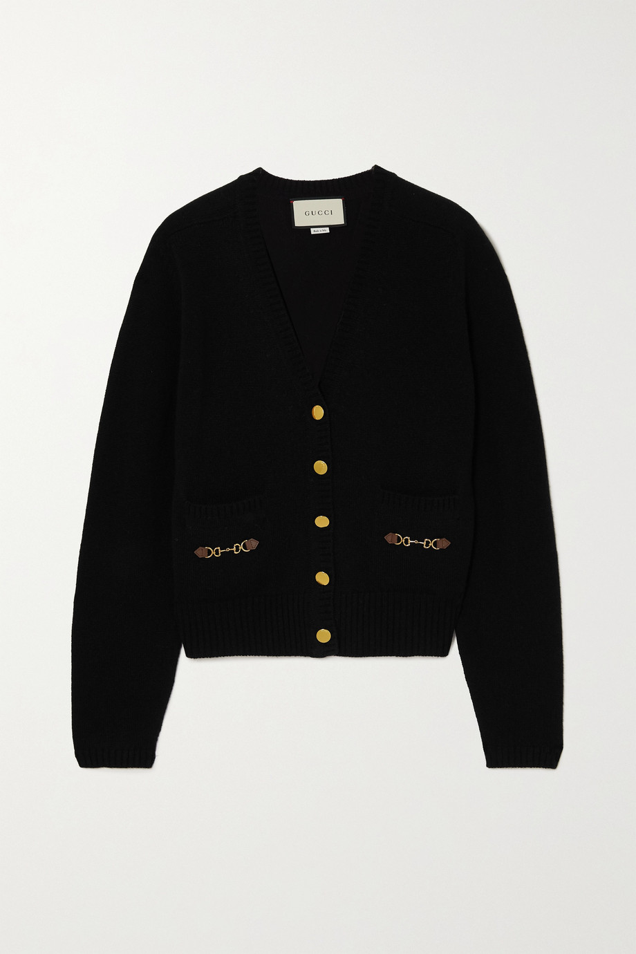 GUCCI Horsebit-detailed leather-trimmed cashmere cardigan