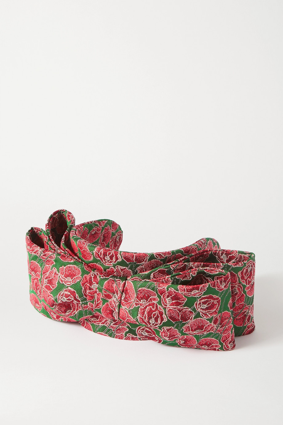 PRUDENCE MILLINERY Bow-detailed metallic floral-brocade headband