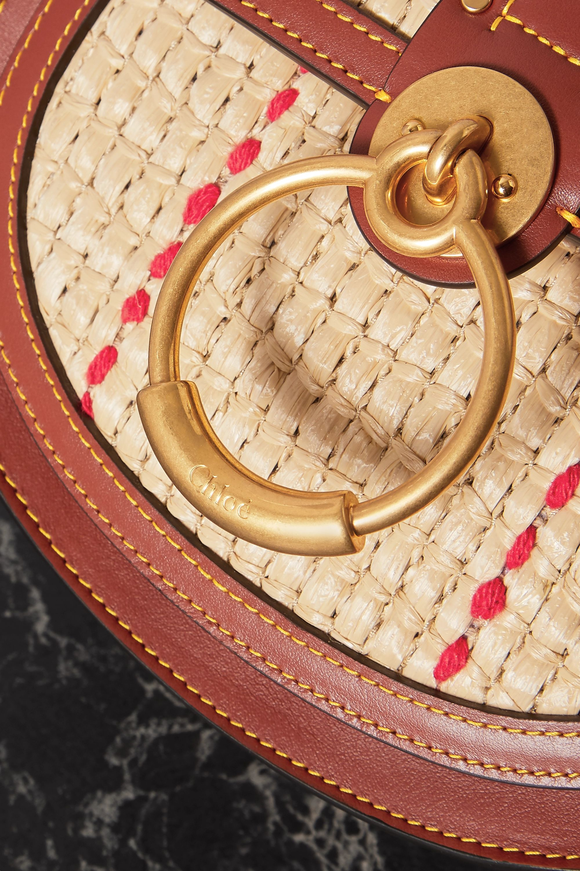 CHLOÉ Tess small leather and raffia shoulder bag