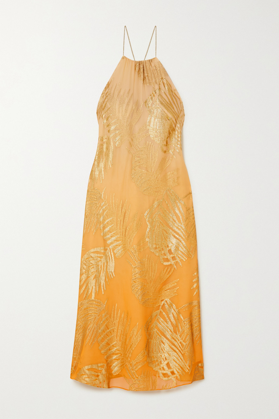 MARIE FRANCE VAN DAMME Metallic fil coupé silk-blend chiffon dress
