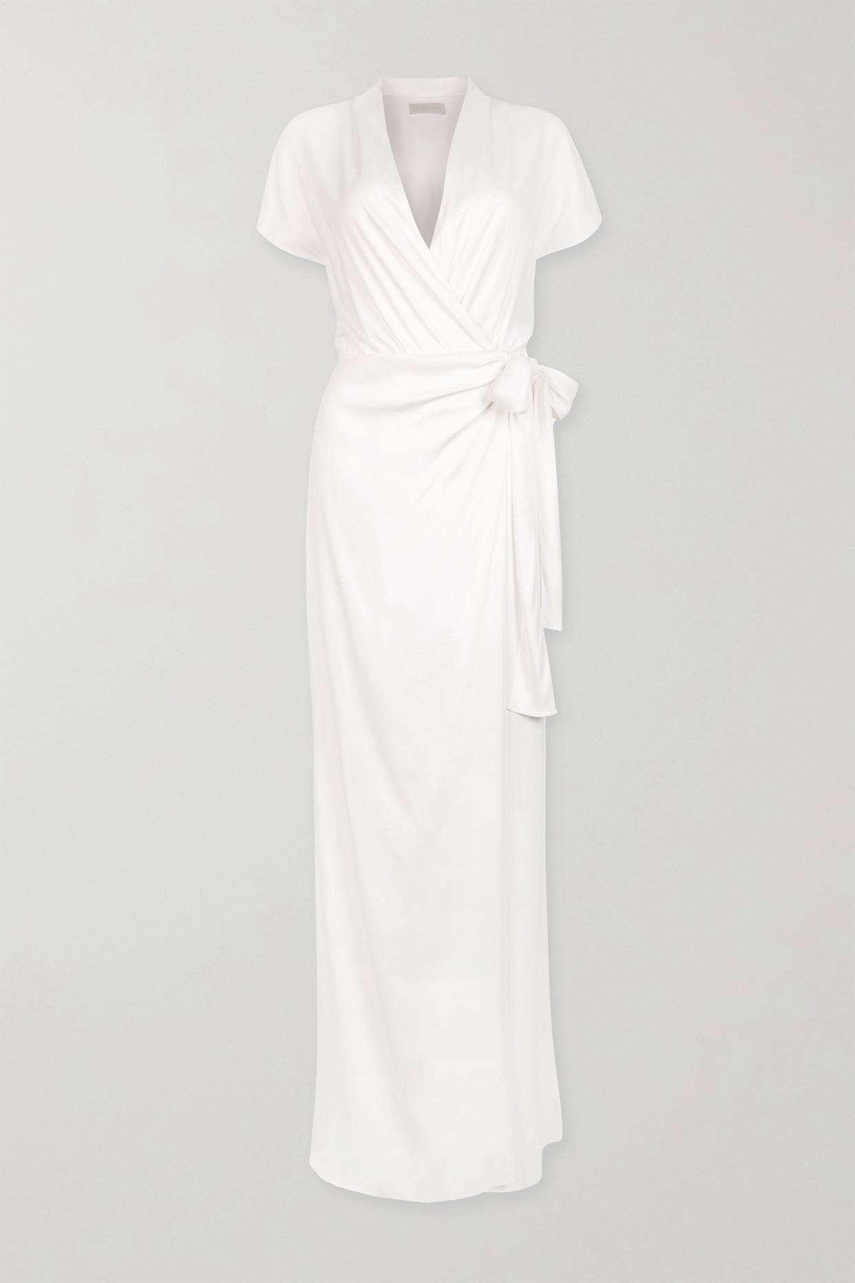 VANESSA COCCHIARO - The Lady Draped Matte-satin Wrap Gown - White - FR40