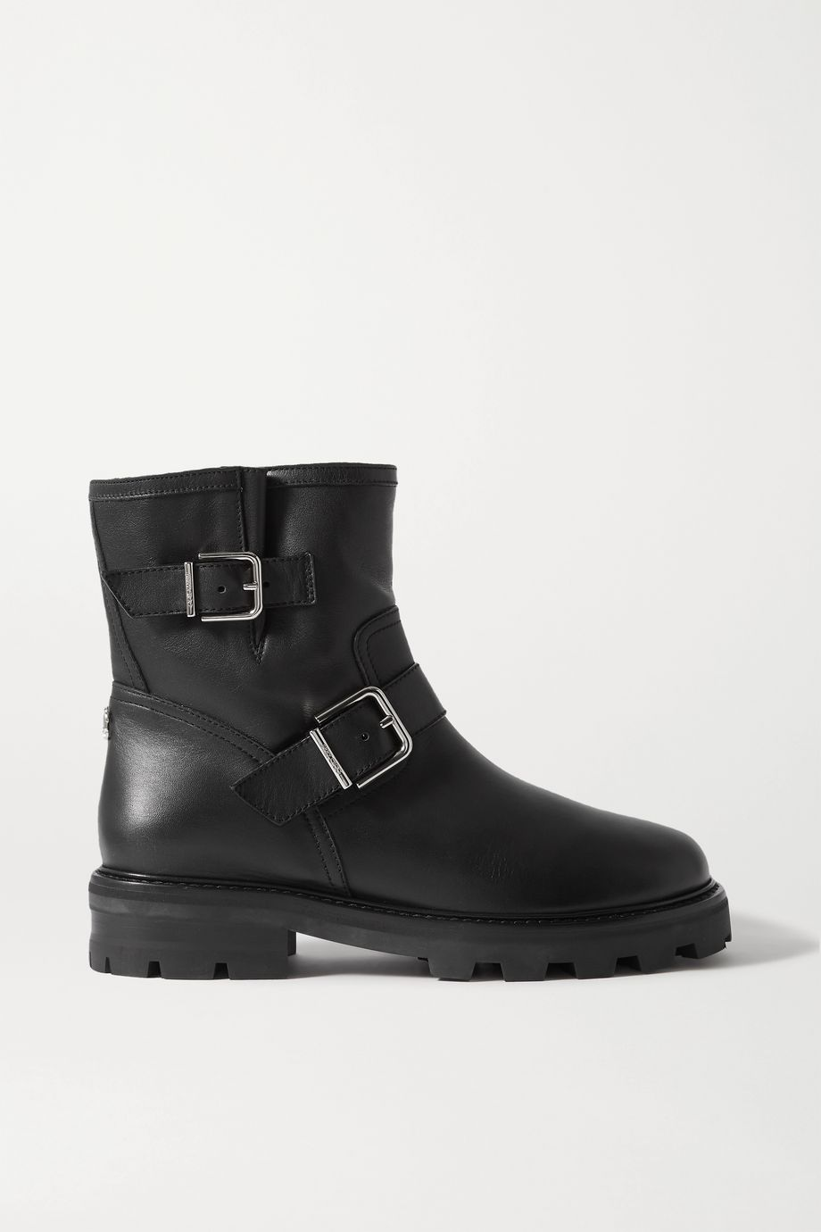 Jimmy Choo Youth II buckled leather shearling biker boots