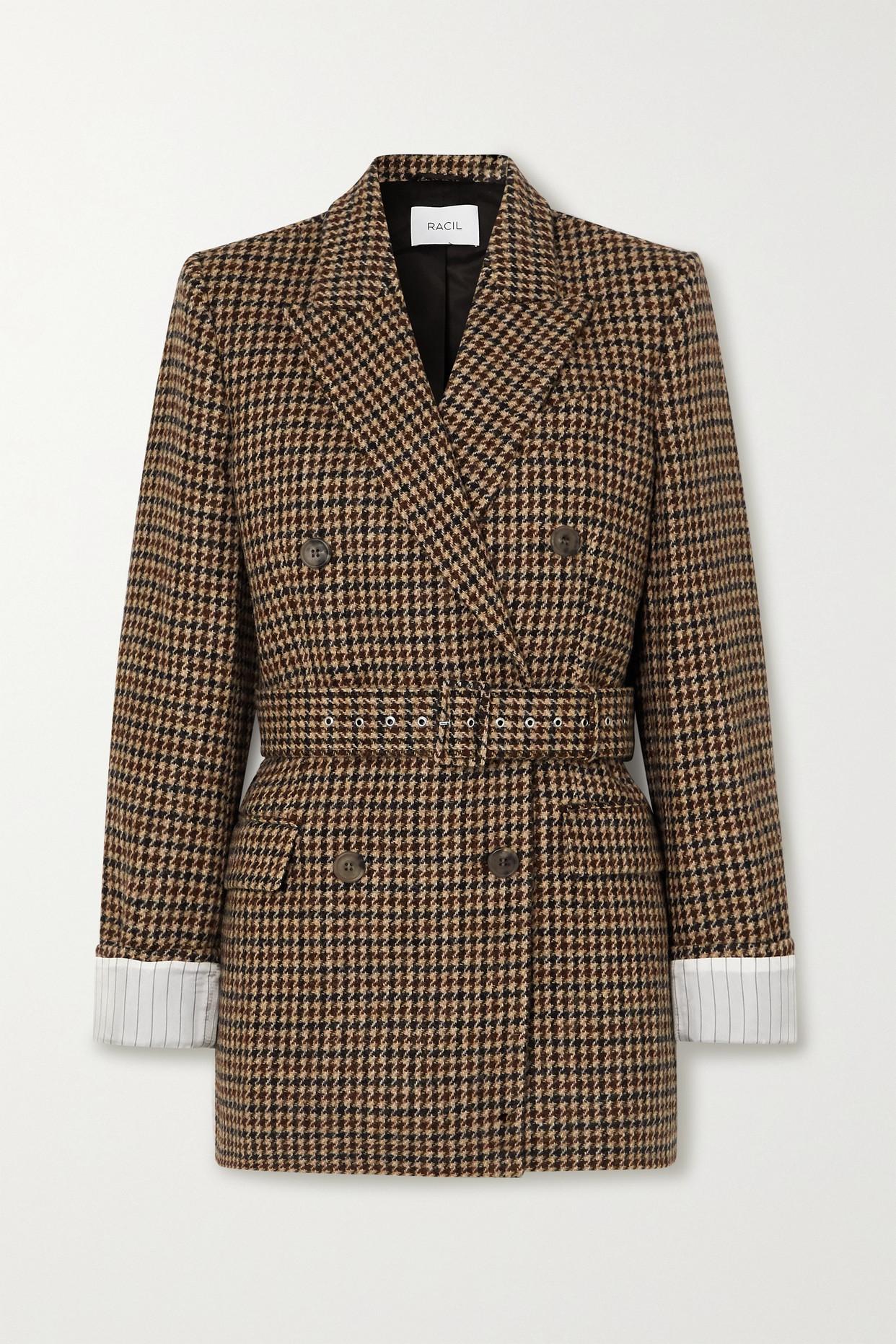 RACIL - Farrah 配腰带双排扣千鸟格羊毛花呢西装外套 - 棕色 - FR38