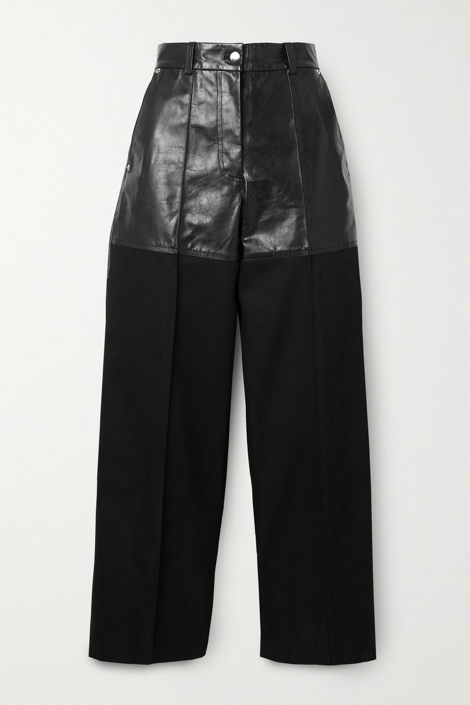 Peter Do Fireman cropped paneled leather and twill straight-leg pants