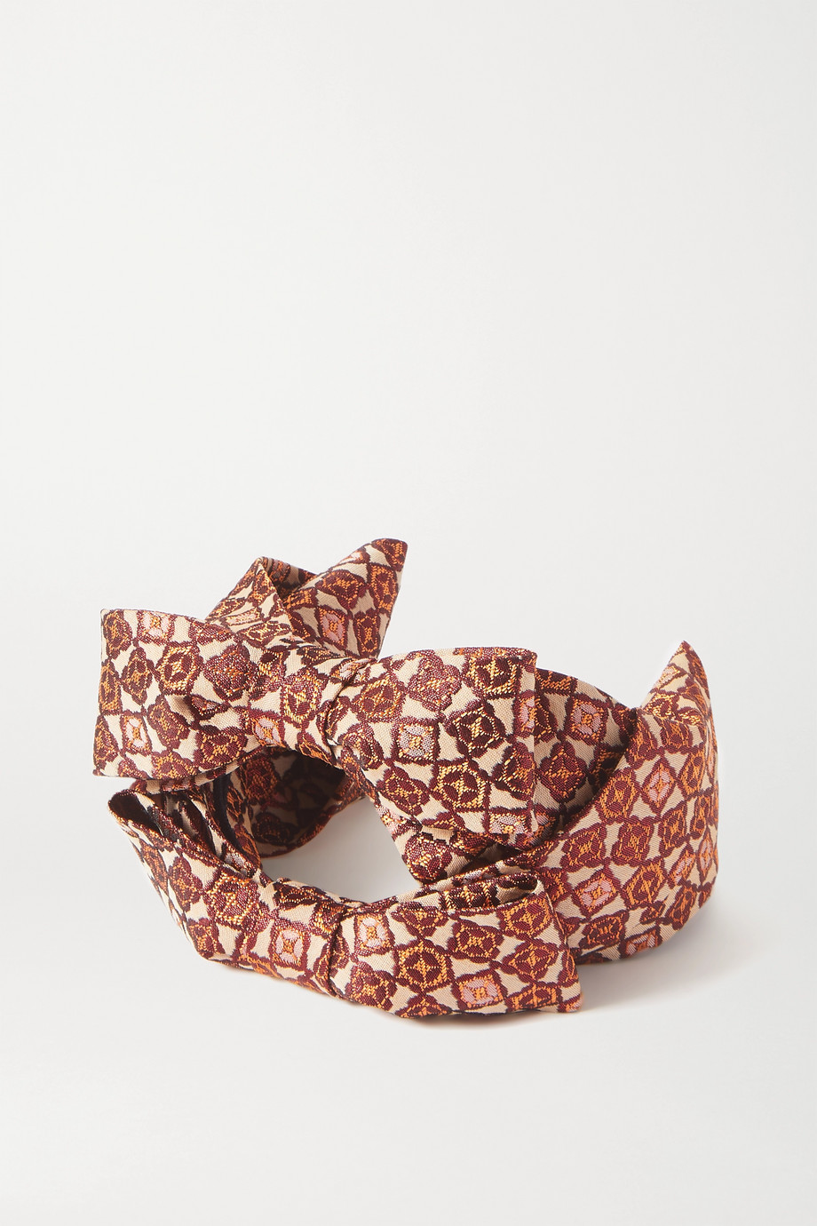 PRUDENCE MILLINERY Bow-detailed metallic jacquard headband