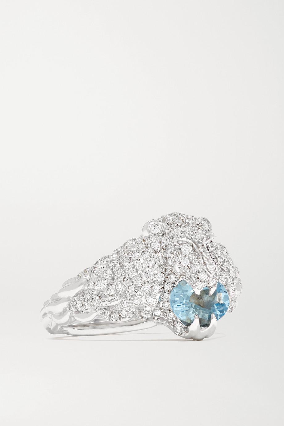 GUCCI 18-karat white gold, diamond and aquamarine ring