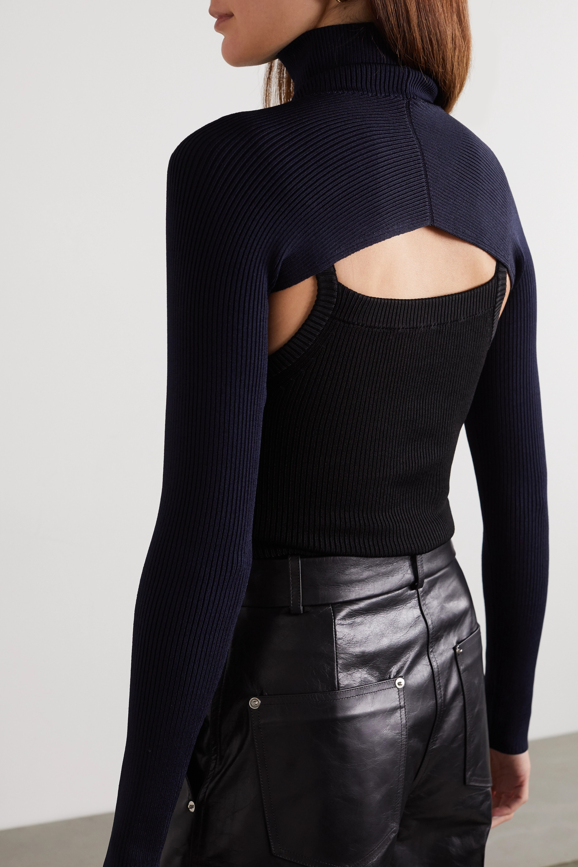 Peter Do Layered ribbed-knit sweater