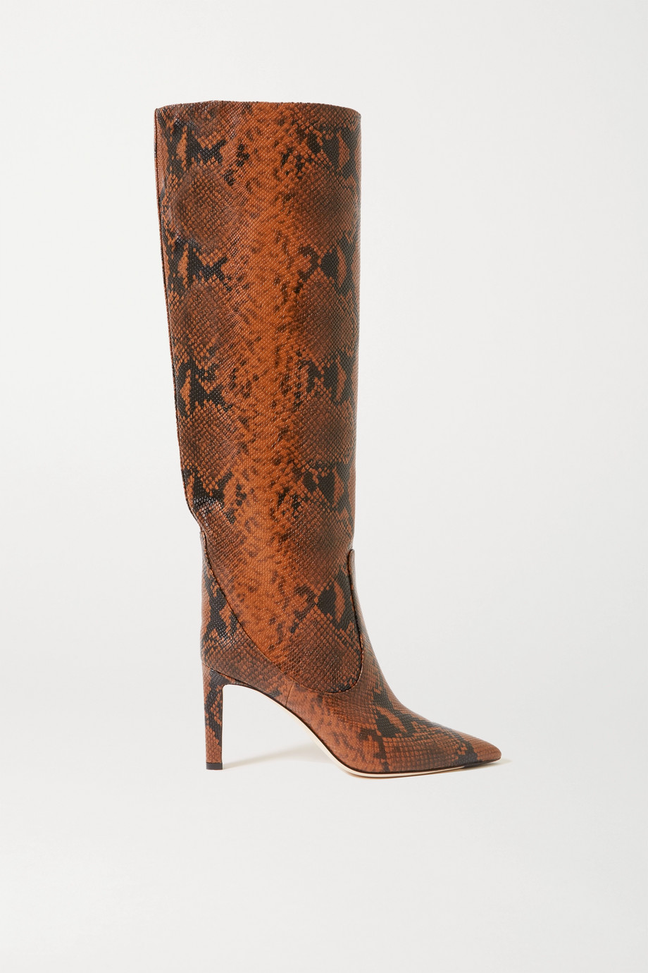 JIMMY CHOO Mavis 85 snake-print leather knee boots