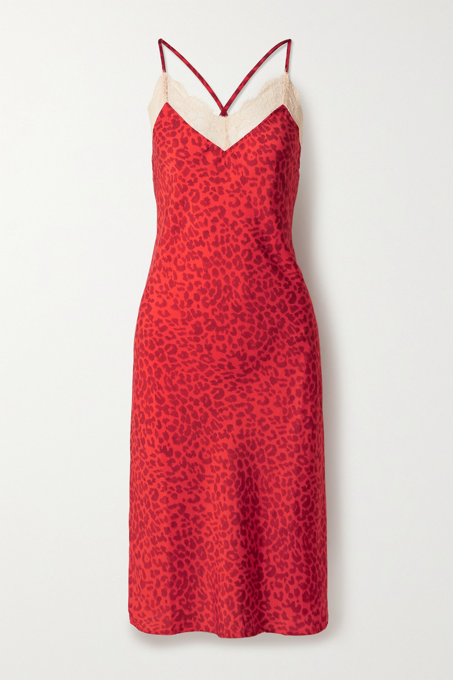 LOVE STORIES Luna lace-trimmed leopard-print crepe midi dress