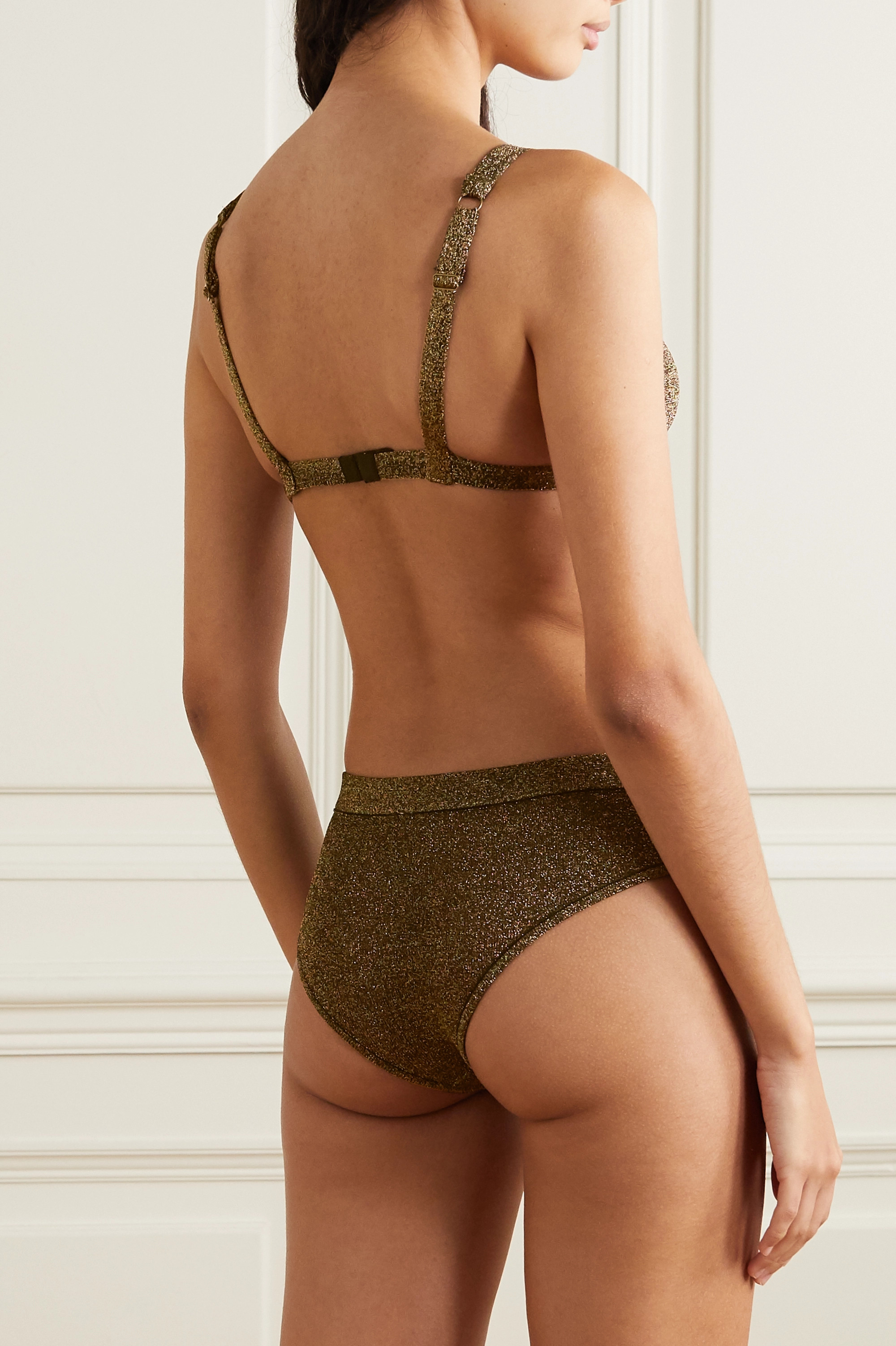 LOVE STORIES Uma metallic stretch-jersey soft-cup triangle bra