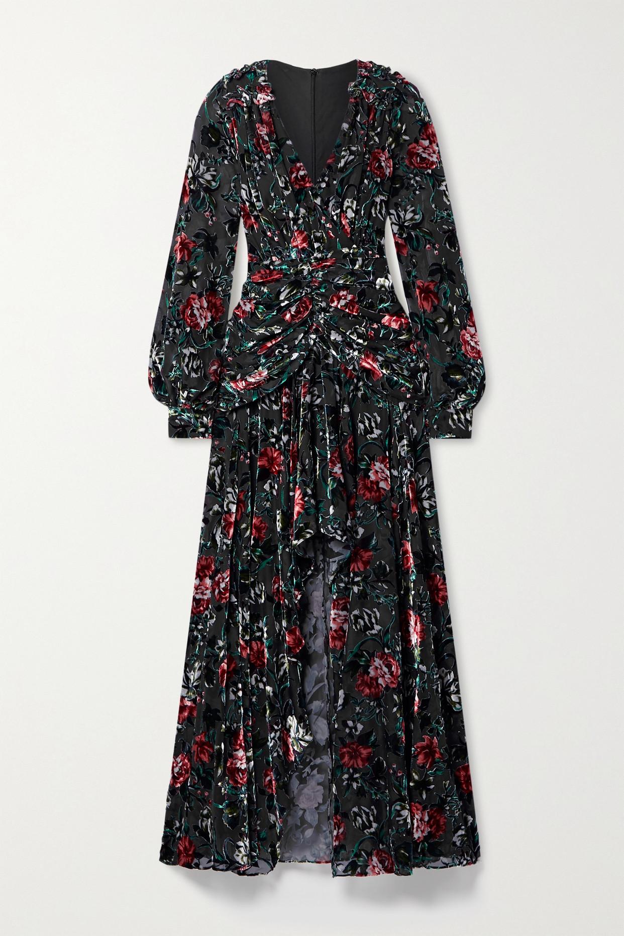 PATBO - Ruched Ruffled Floral-print Devoré-velvet Gown - Black - US2