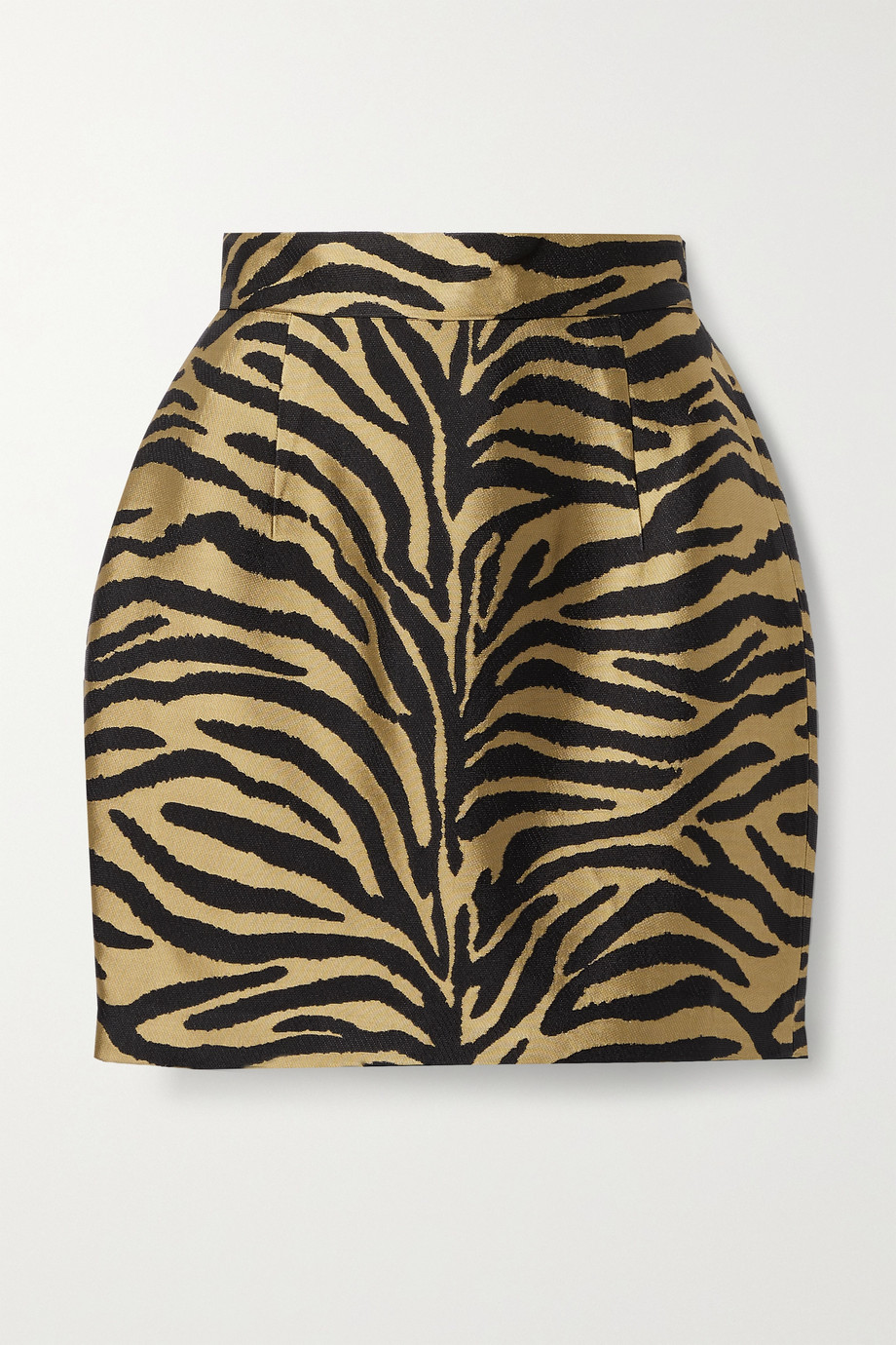 KHAITE Eiko metallic zebra-jacquard mini skirt