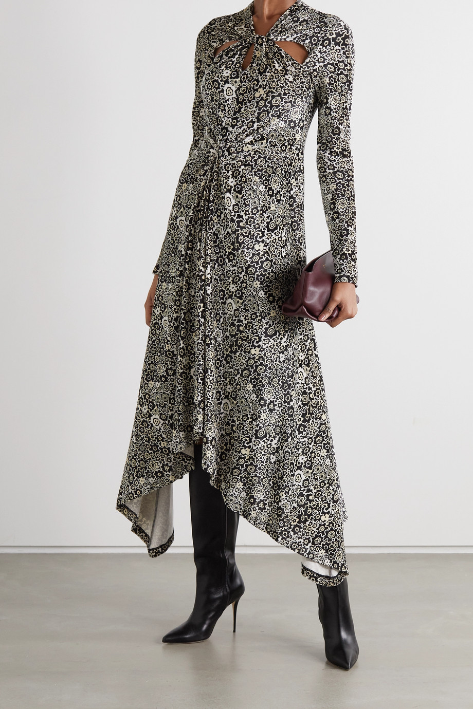 ROSETTA GETTY Asymmetric twist-front floral-print stretch-velvet dress