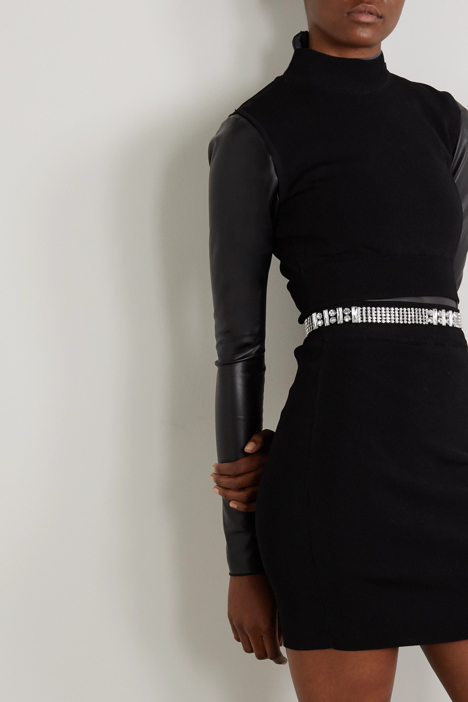 BLACK & BROWN Silver-tone crystal belt