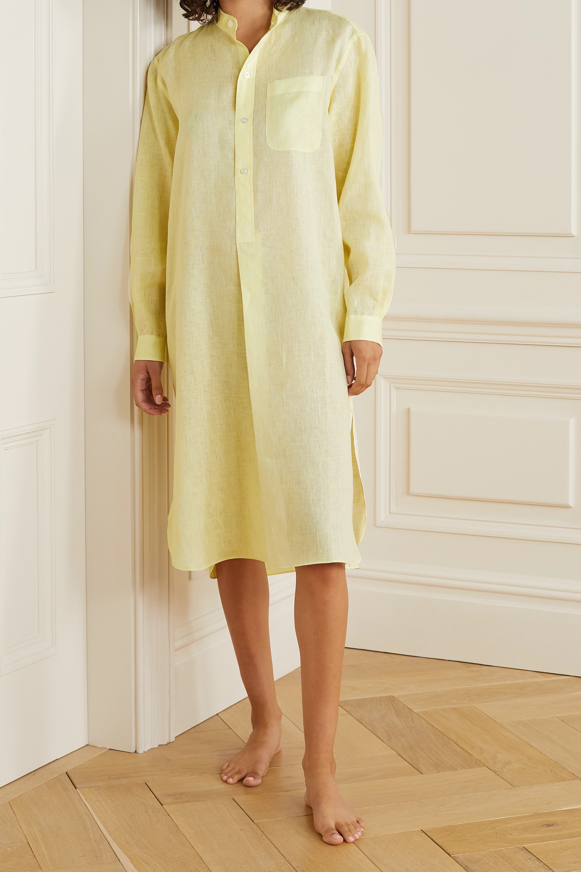 CHARVET Oversized striped cotton-poplin nightdress