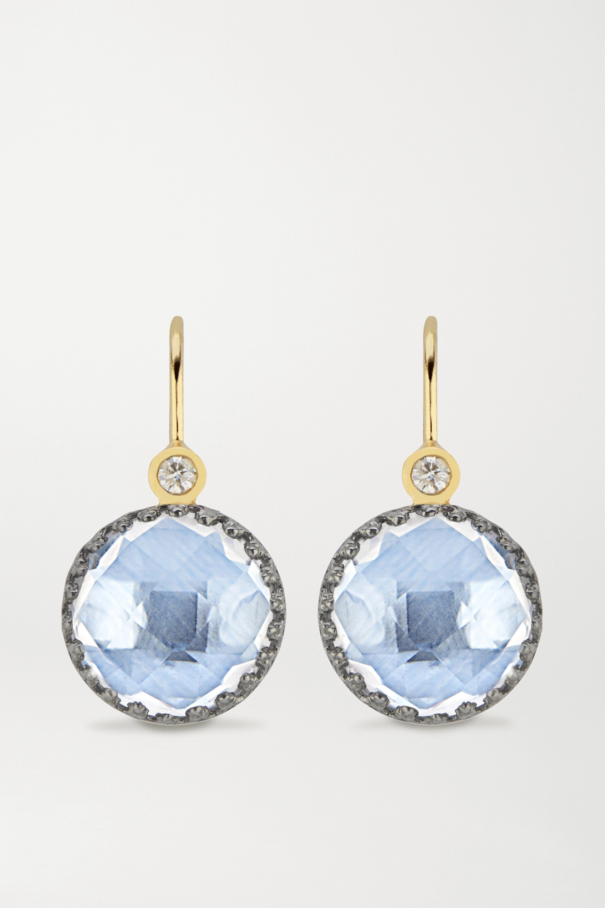 LARKSPUR & HAWK Olivia Button small rhodium-dipped quartz and diamond earrings