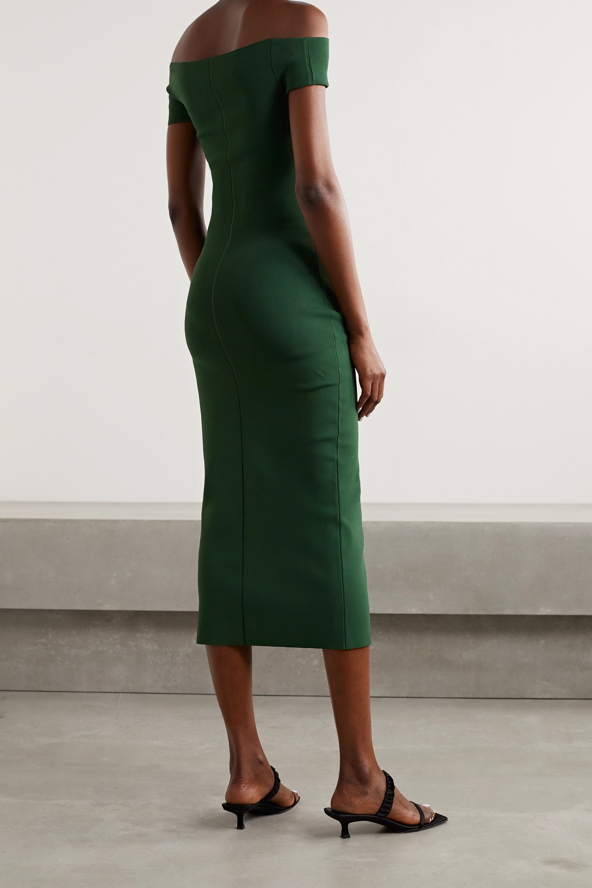 KHAITE Marika off-the-shoulder cutout stretch-knit midi dress