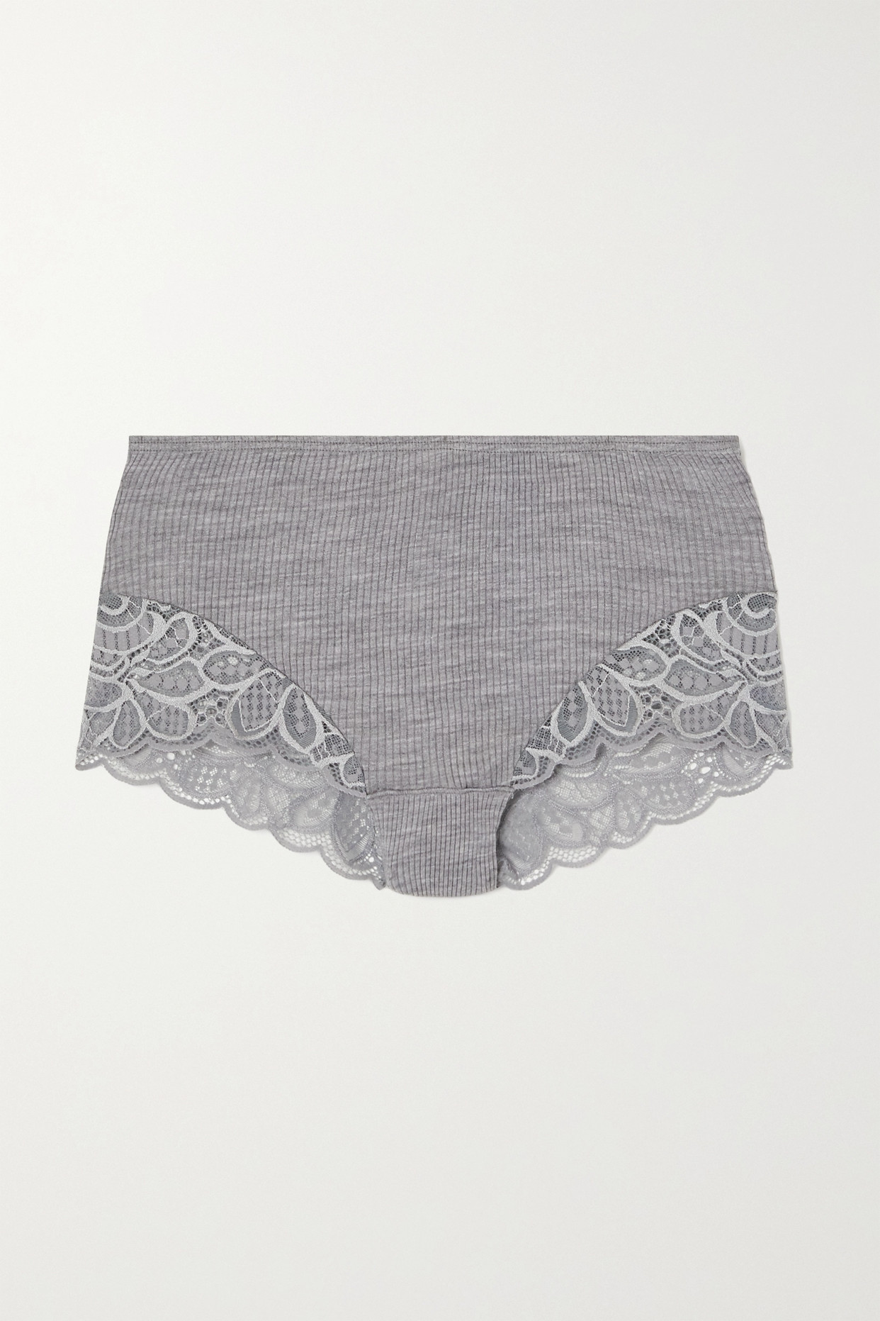 HANRO - Karla 蕾丝边饰罗纹羊毛真丝混纺三角裤 - 灰色 - large