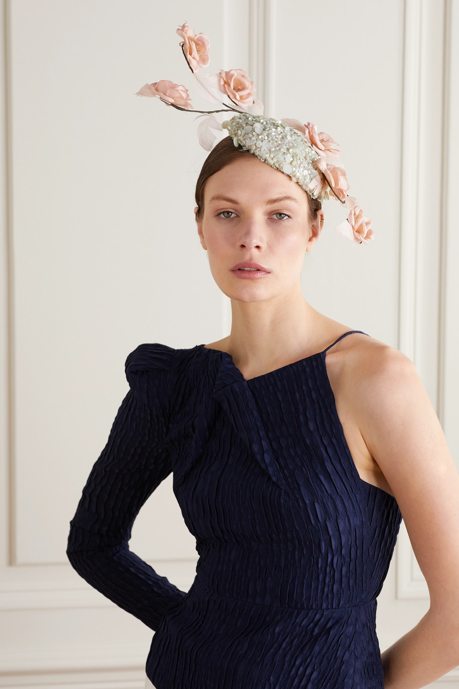 Merve Bayindir Shirin feather-trimmed taffeta and sequined Pinokpok hat
