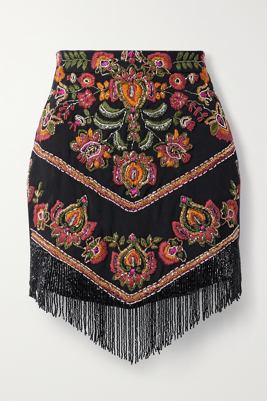 PATBO Fringed bead-embellished embroidered woven mini skirt