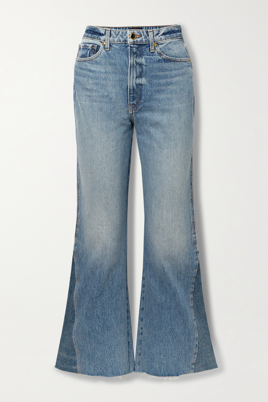KHAITE Layla paneled cropped high-rise flared jeans