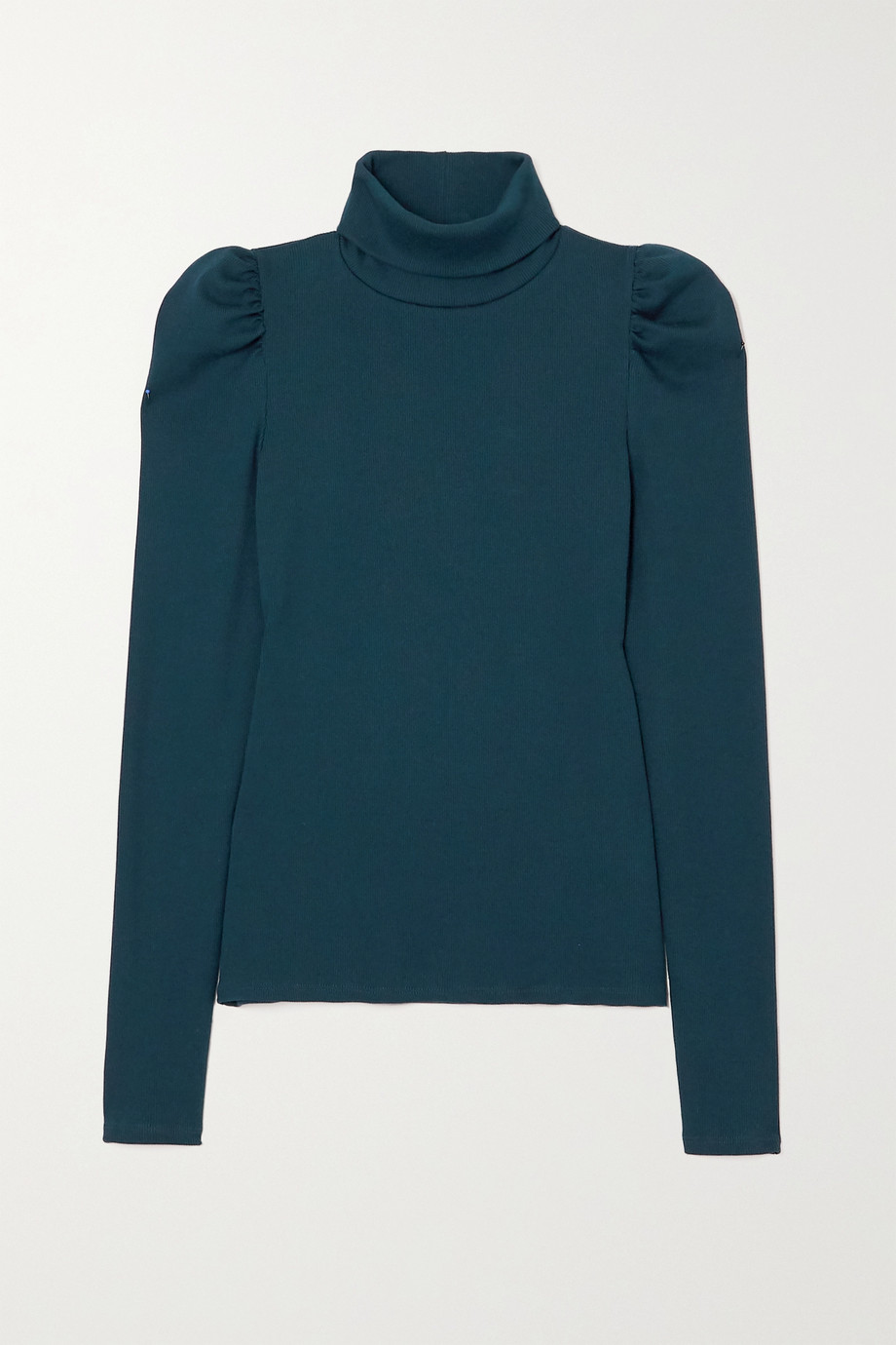 VERONICA BEARD Cedar gathered ribbed stretch Pima cotton jersey turtleneck top