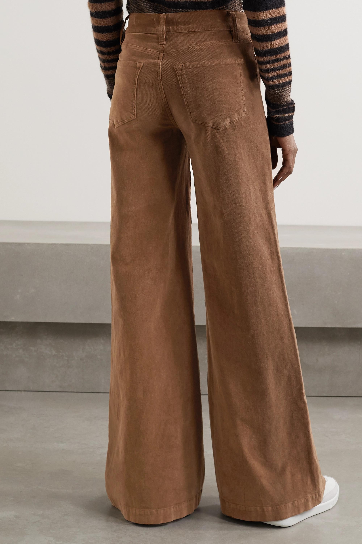Light Brown Le Palazzo Wide Leg Cotton Blend Corduroy Pants Frame Net A Porter