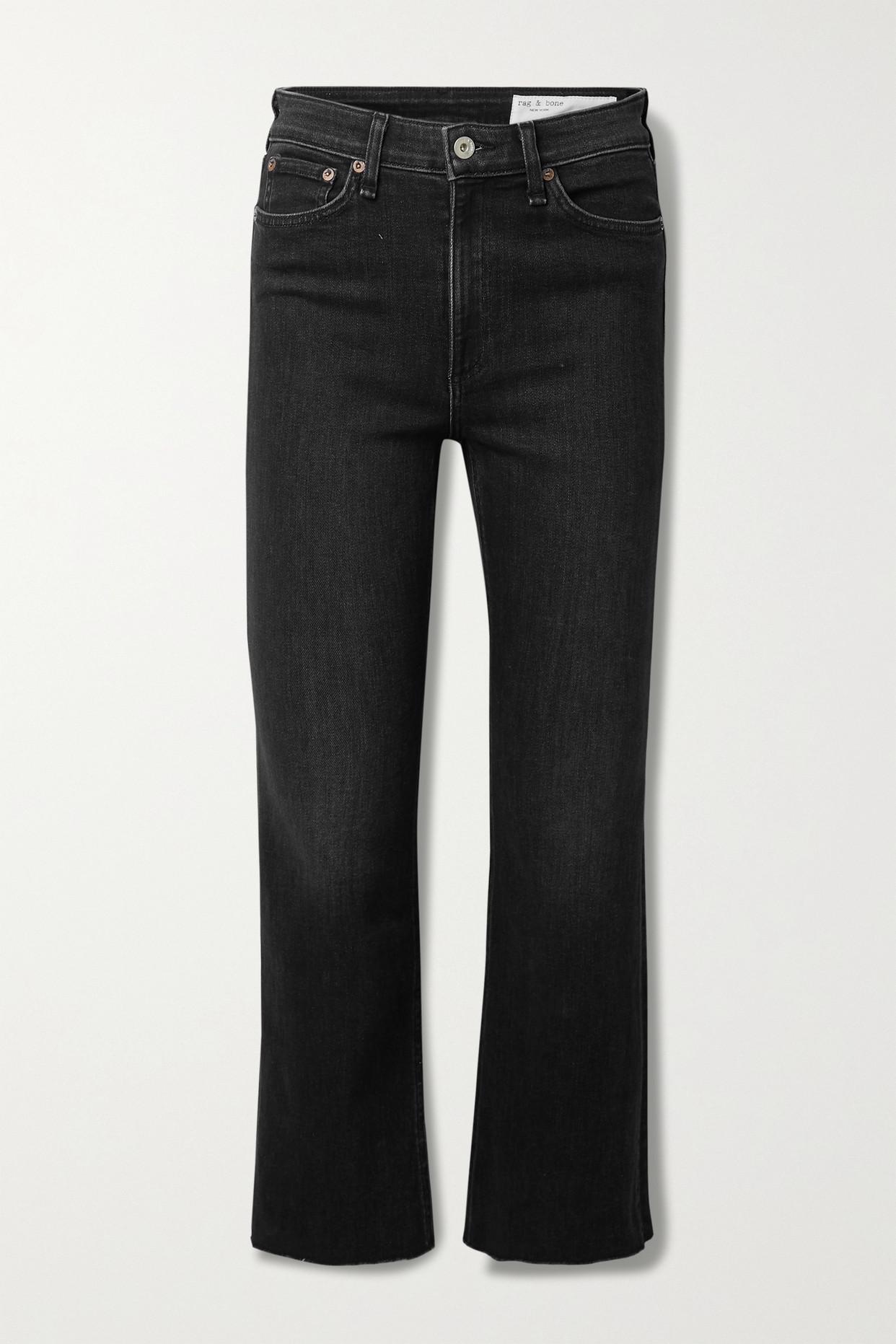 RAG & BONE - Nina Cropped High-rise Flared Jeans - Black - 26