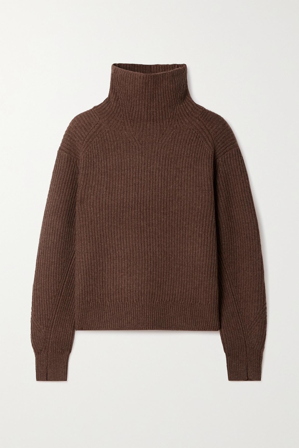 RAG & BONE - Pierce Ribbed Cashmere Turtleneck Sweater - Brown - x small