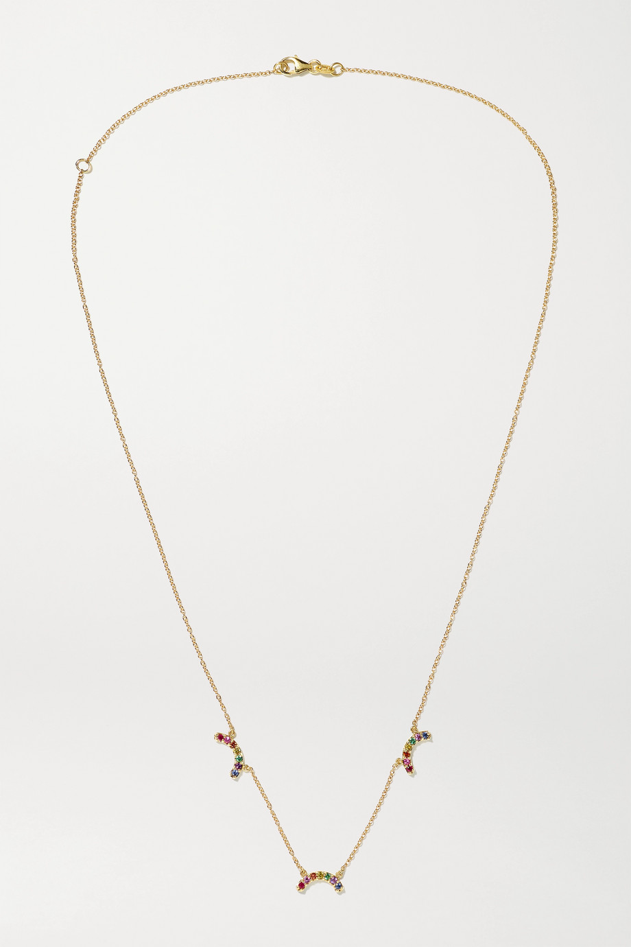 ANDREA FOHRMAN Single Rainbow 14-karat gold multi-stone necklace