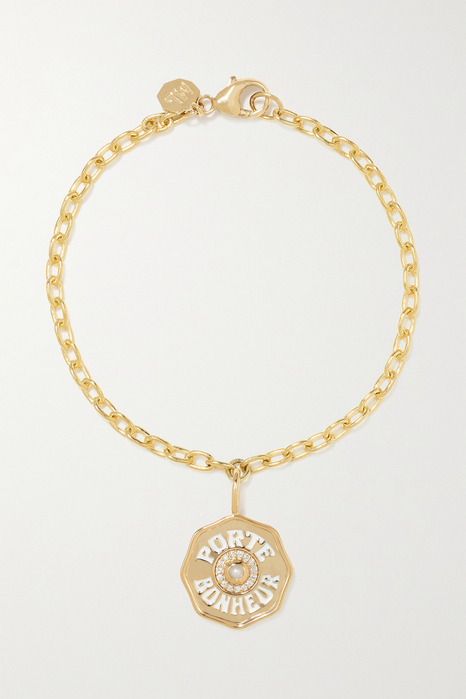 MARLO LAZ Mini Porte Bonheur Coin 14-karat gold, enamel, diamond and pearl bracelet