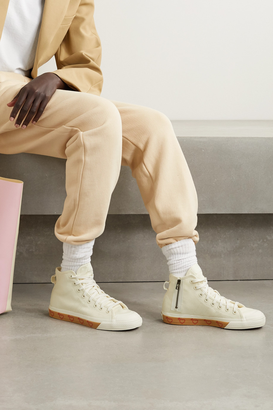 ADIDAS ORIGINALS + Human Made Nizza Hi rubber-trimmed canvas high-top sneakers