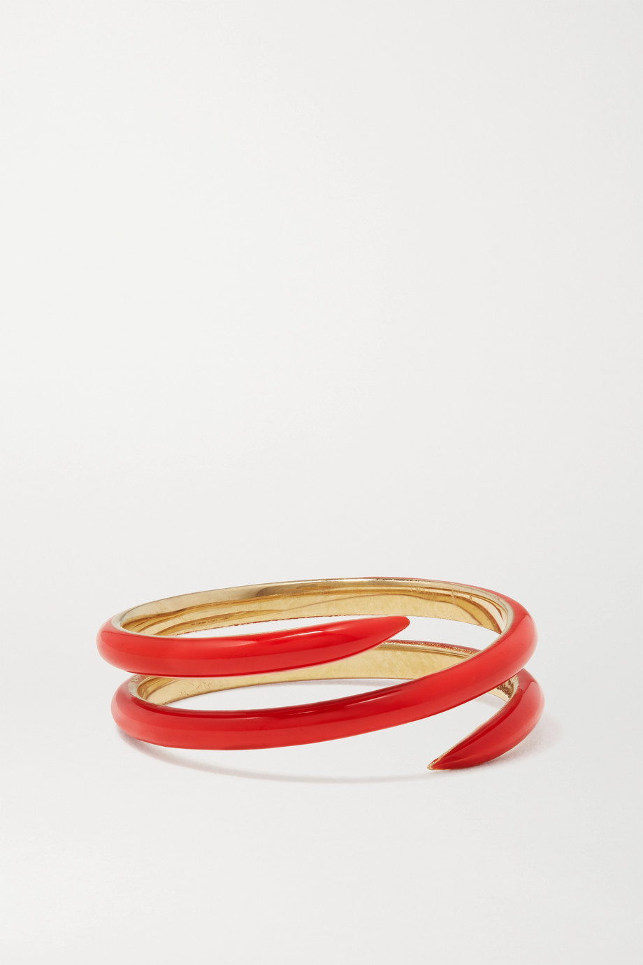 ALISON LOU Coil 14-karat gold and enamel ring