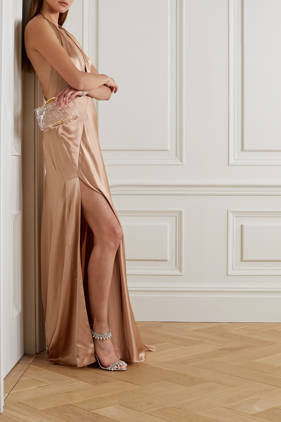 MICHAEL LO SORDO Alexandra open-back silk-satin gown